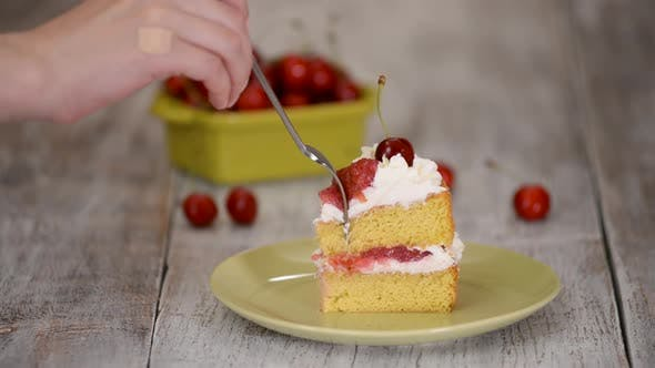 Thumbnail for Piece of Cherry Cake With Vanilla Cream.