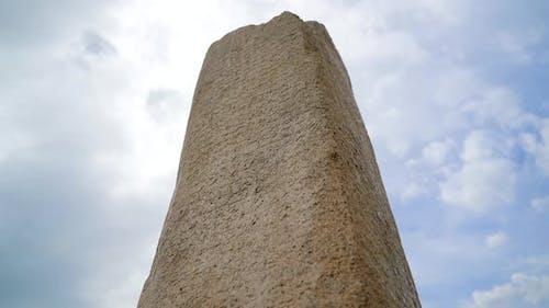 Historical Stone Inscription With Runic Alphabet