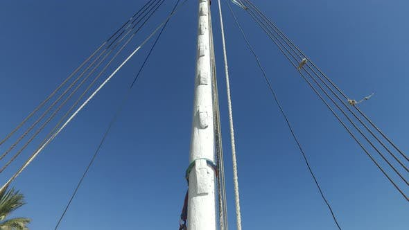 Thumbnail for View of mast with sail on felucca boat