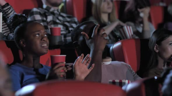 African American Couple Watching Horror Movie