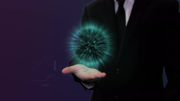 Thumbnail for Man In Black Suit With Blue Digital Energy Above Hand