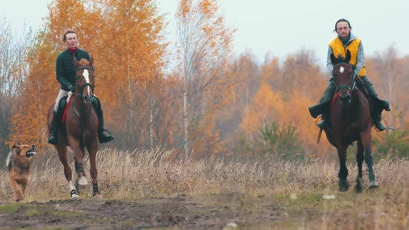 Two Women on the Horses Backs Are Galloping