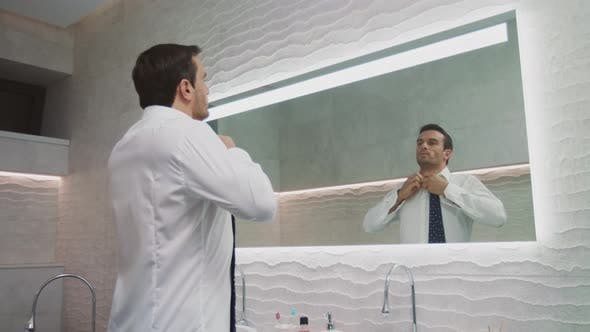 Thumbnail for Business Man Buttoning Shirt Luxury Bathroom. Happy Man Dress in Private House