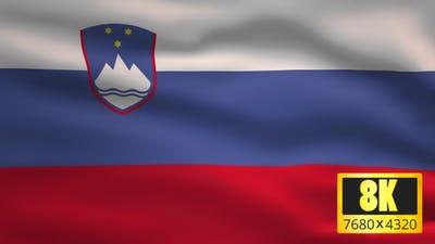 8K Slovenia Windy Flag Background