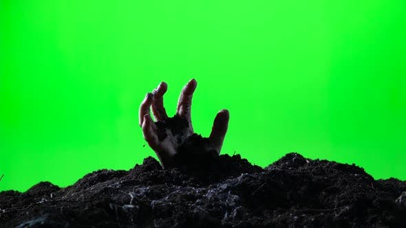 Thumbnail for Zombie Hand Emerging From the Ground. Green Screen. 005