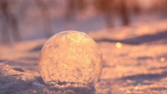 Thumbnail for Soap Bubble in the Snow in Winter