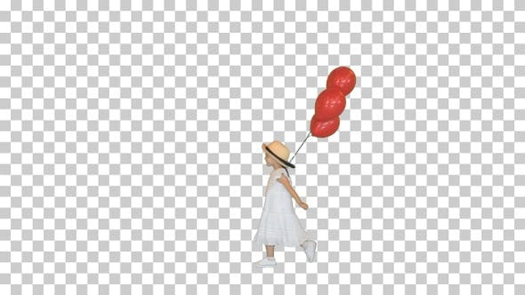 Little girl walking by with red balloons, Alpha Channel