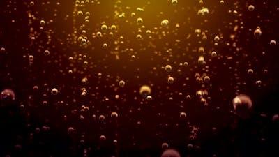 Transparent Bubbles Go Up Underwater Over Coca-cola Background