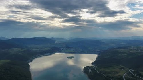 Aerial View of Lake in Serbia at Sunset
