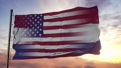 Missouri and USA Flag on Flagpole