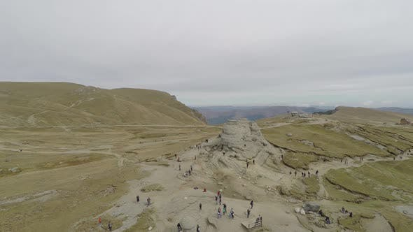 Aerial view of Bucegi Mountains with the Sphinx