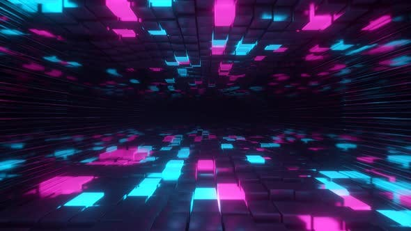 Thumbnail for Flying in Endless Space of Neon and Metal Cubes.