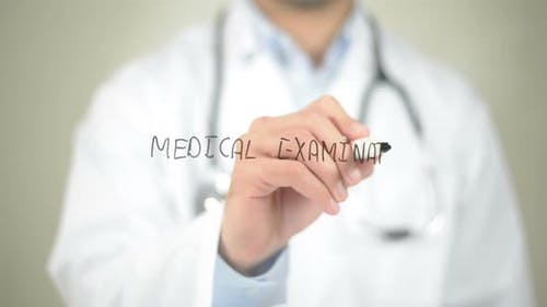 Medical Examination, Doctor Writing on Transparent Screen