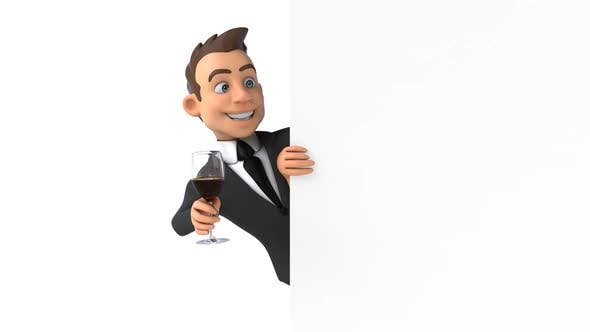 Fun 3D cartoon business man with a glass of wine