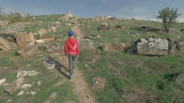 Thumbnail for Boy Walking To the Ancient Ruins in Pamukkale, Turkey