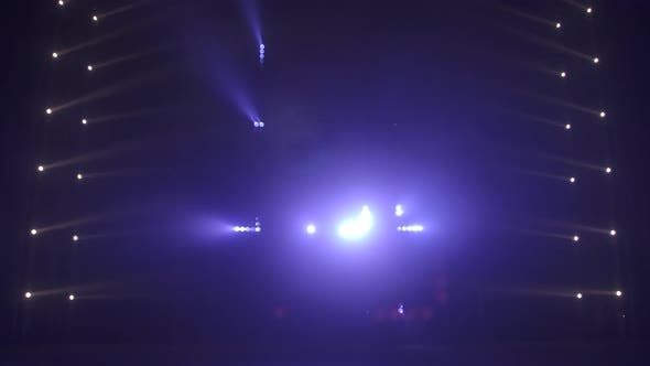 Stage with Spot Lighting, Shining Empty Scene for Holiday Show, Award Ceremony or Advertising on the