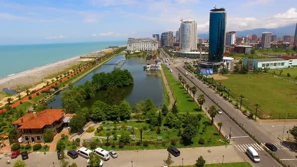Cover Image for Seafront Area in Batumi Georgia with Ardagani Lake in Middle, Summer Holidays