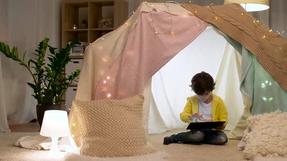 Thumbnail for Little Boy with Tablet Pc in Kids Tent at Home