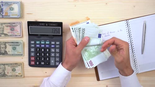 Counting euros at an accountancy office
