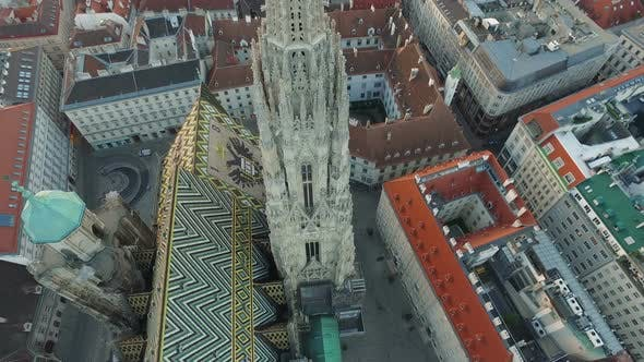 Aerial shot of Stephansdom in the evening