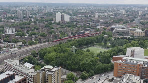Thumbnail for Railroad with Moving Trains. London City Railway Transport System