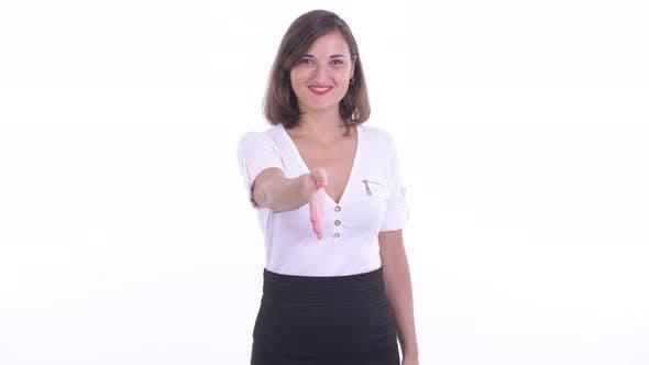 Thumbnail for Happy Beautiful Businesswoman Giving Handshake