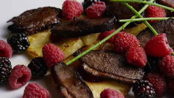 Thumbnail for Rotating - smoked duck bacon with grilled pineapple, raspberries, blackberries and honey