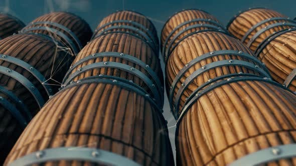 Stacked Wooden Oak Whiskey Wine Or Beer Barrels Sitting In Rows Hd