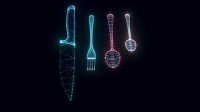 Cutlery Hologram Rotating 4k