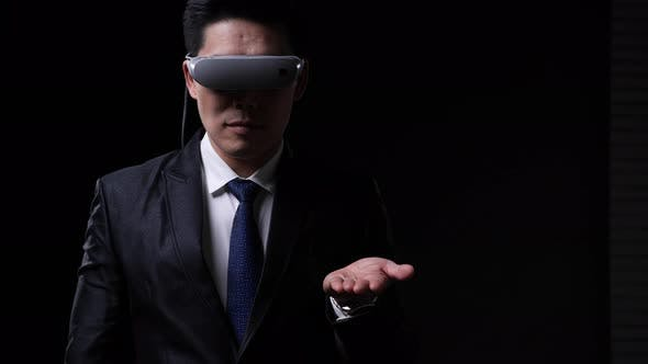 Businessman wearing VR glassese