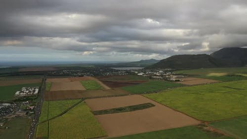Aerial Photography of the Beautiful Green Countryside of Mauritius with Fields and Mountain Views