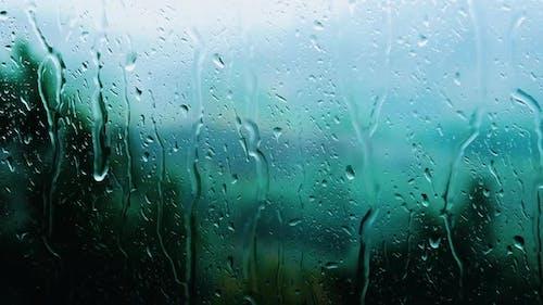 Rain Outside The Window, Raindrops Running Down The Glass, Rain Background