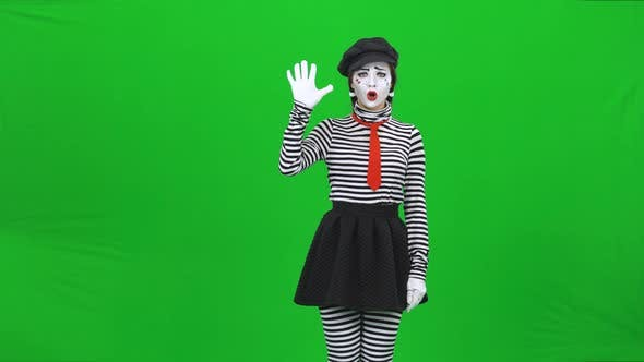 Thumbnail for Mime Girl Is Saying No and Looking Sad. Chroma Key