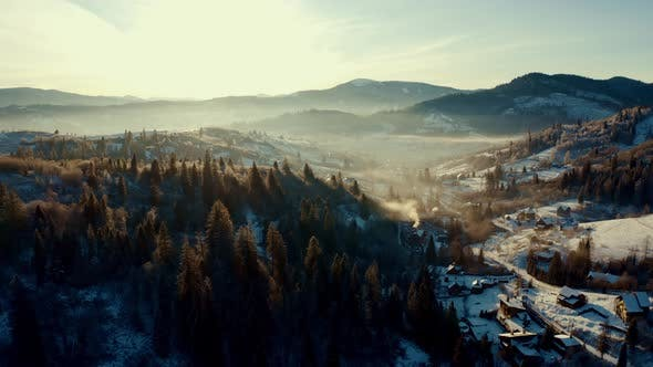 Aerial View of Morning in the Winter Mountains, Aerial View of Sunrise in the Winter Mountains