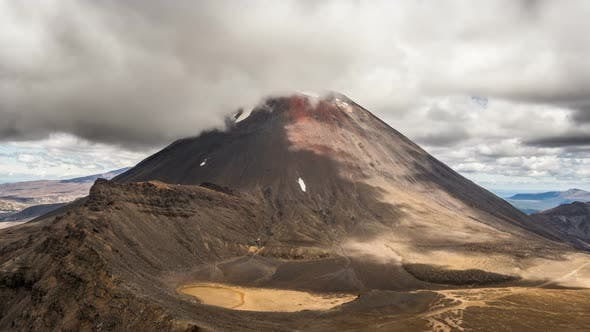 Dramatic Clouds over Volcanic Mount Doom Mountains in Tongariro National Park Nature in New Zealand