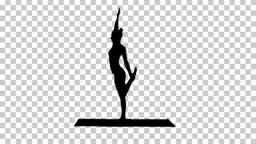 Silhouette yogi woman, Alpha Channel