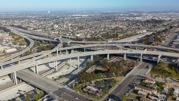 Thumbnail for Multi-level Overpass in Suburban Area of Los Angeles. Up To Horizon Cityscape