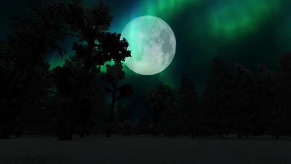 Thumbnail for Aurora Borealis and Full Moon
