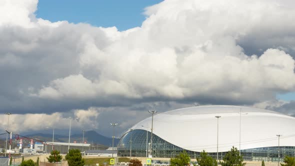 Thick Rainclouds Swirling Over Sport Ice Dome Sochi