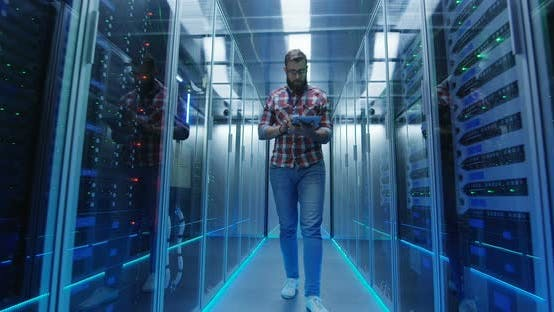 Thumbnail for IT Engineer with Tablet in Server Room