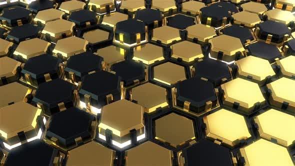 High Tech Golden Hexagon