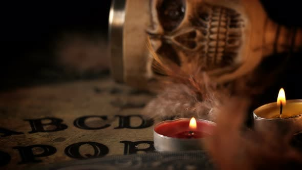 Skull And Candles On Ouija Spirit Board 3