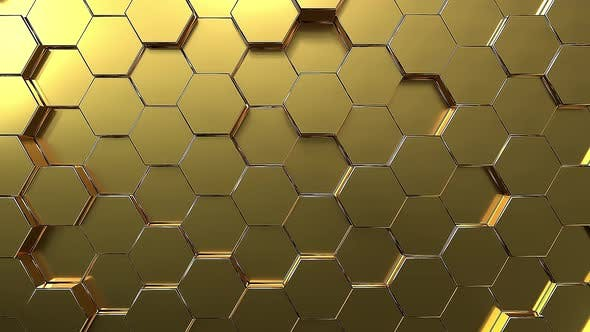 Thumbnail for Seamless loop Golden hexagon honeycomb movement background