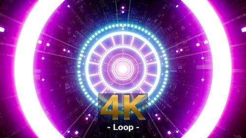 Blinking Neon Light Beam Tunnel Video Jockey Background 4K