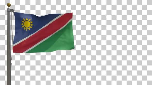 Namibia Flag on Flagpole with Alpha Channel - 4K