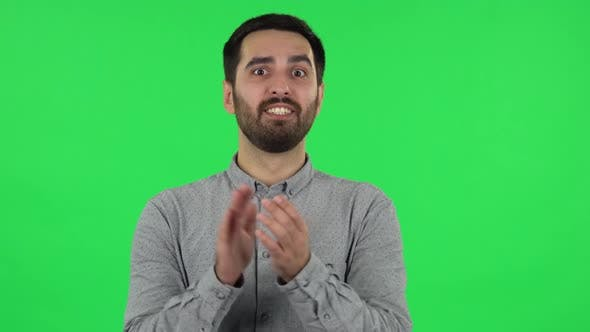 Thumbnail for Portrait of Brunette Guy Is Clapping His Hands with Wow Happy Joy and Delight. Green Screen