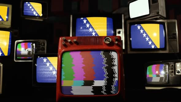 Thumbnail for Flag of Bosnia and Herzegovina on a Retro TV Stack.