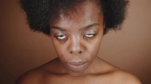 Portrait of Beautiful Topless Woman of African Ethnicity