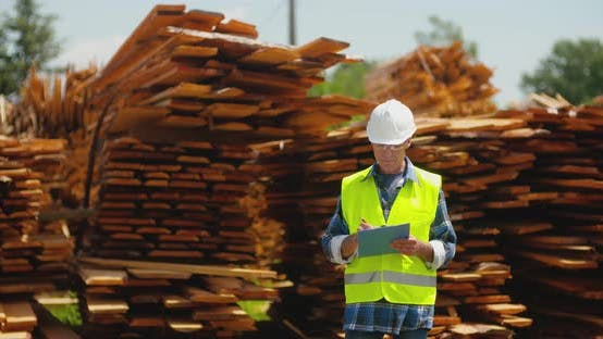 Cover Image for Male Worker Examining Plank's Stack
