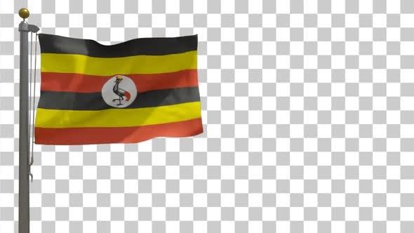 Uganda Flag on Flagpole with Alpha Channel - 4K